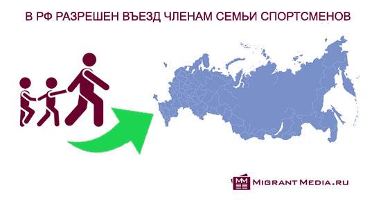 В РФ разрешили въезд членам семьи иностранных спортсменов и лиц, участвующих в спортивных мероприятиях